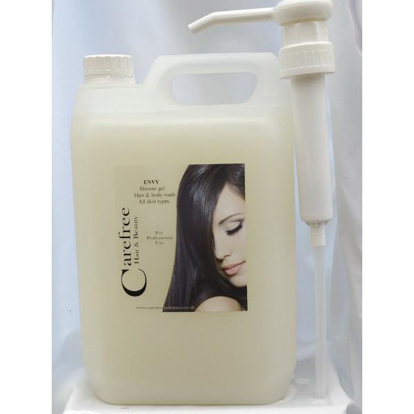 Shower gel 5L Envy hair & body wash FREE pump dispenser made in UK
